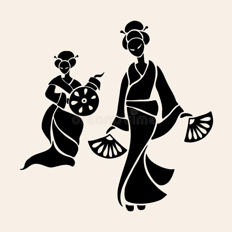 Beautiful Chinese Women royalty free illustration