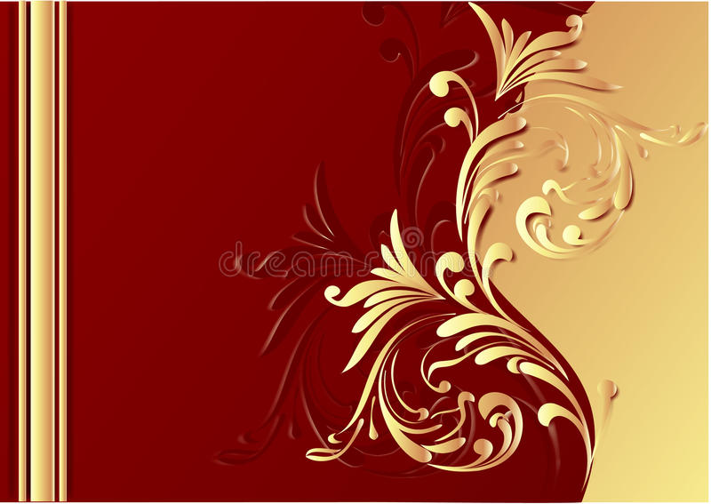 Beautiful chocolate background. Chocolate background. red and gold. flowers. illustration royalty free illustration