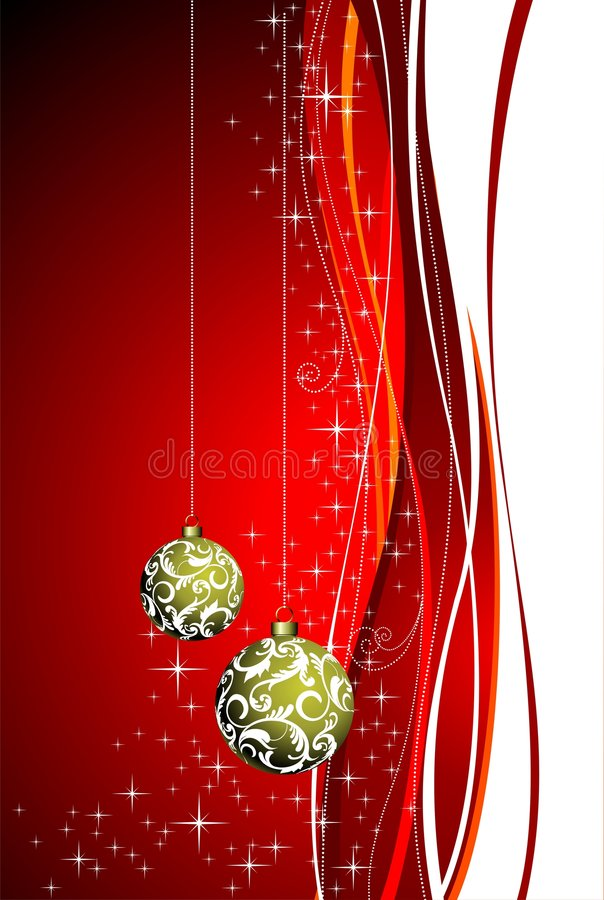 Beautiful christmas. Christmas illustration with red background, gold ball and stars stock illustration