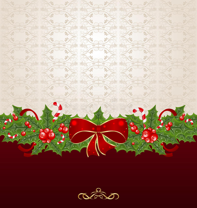 Download Beautiful Christmas Background With Mistletoe Stock Vector - Illustration: 26619008