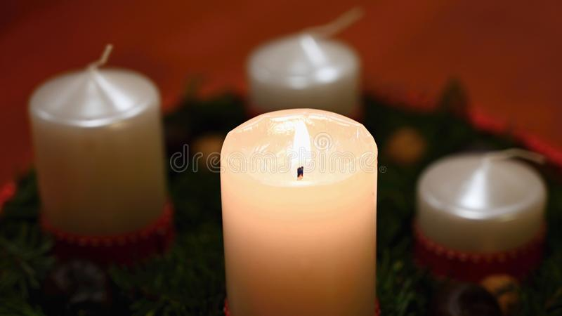 Beautiful Christmas candlelight with candle. Concept for Christmas Winter Time stock image