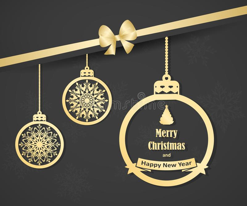 Beautiful Christmas card with gold hanging christmas balls and bow. Elegant background for New Year`s design. stock illustration