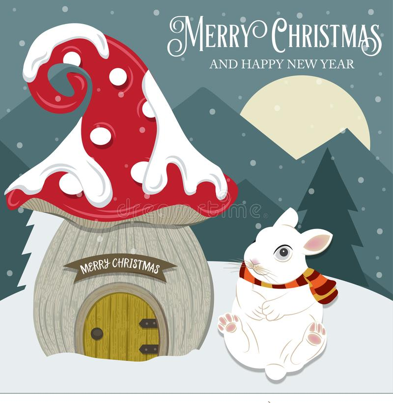 Beautiful Christmas card with gome house and rabbit. Flat design. Vector. Beautiful Christmas card with gome house and rabbit. Flat design vector illustration