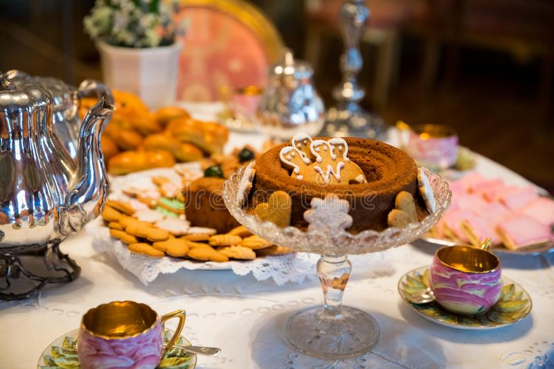 Beautiful Christmas classic table setting with traditional Finnish treats stock photo