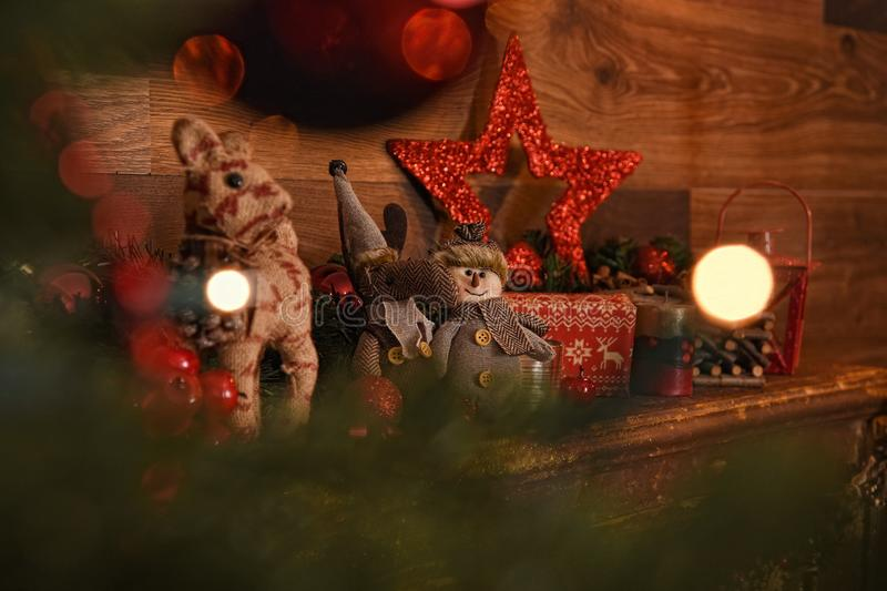Beautiful Christmas composition with vintage decoration. Brown wooden background and copy space.  stock photos