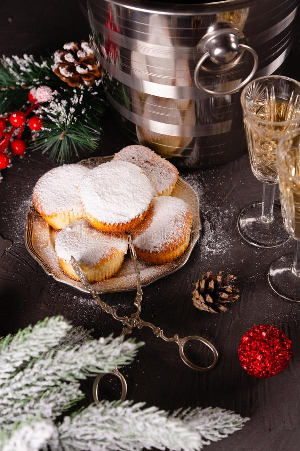Beautiful christmas concept with sweets and accessories stock photo