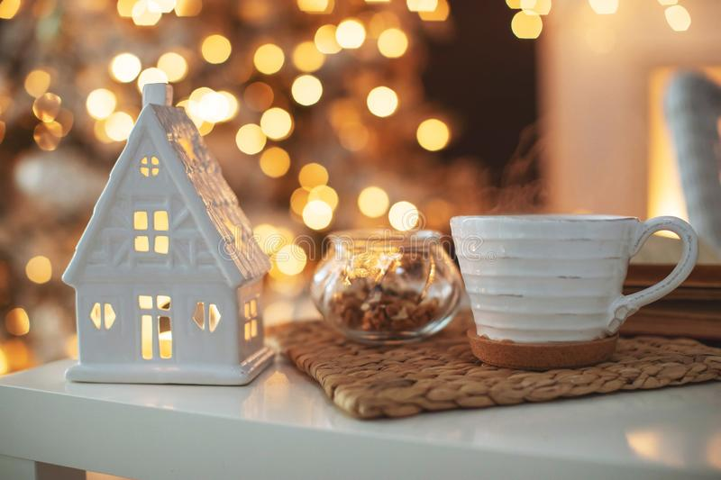 Beautiful Christmas decor in a cozy home royalty free stock images