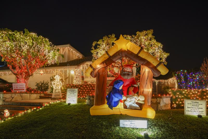 Beautiful christmas decoration at Brea Neighborhood. Brea, DEC 4: Beautiful christmas decoration on DEC 4, 2018 at Brea Neighborhood, Los Angels County royalty free stock image