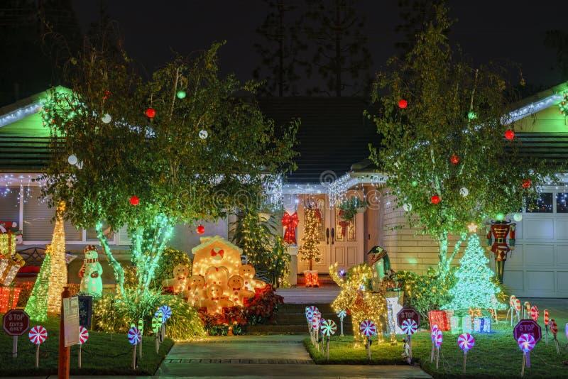 Beautiful christmas decoration at Brea Neighborhood. Brea, DEC 4: Beautiful christmas decoration on DEC 4, 2018 at Brea Neighborhood, Los Angels County stock photo