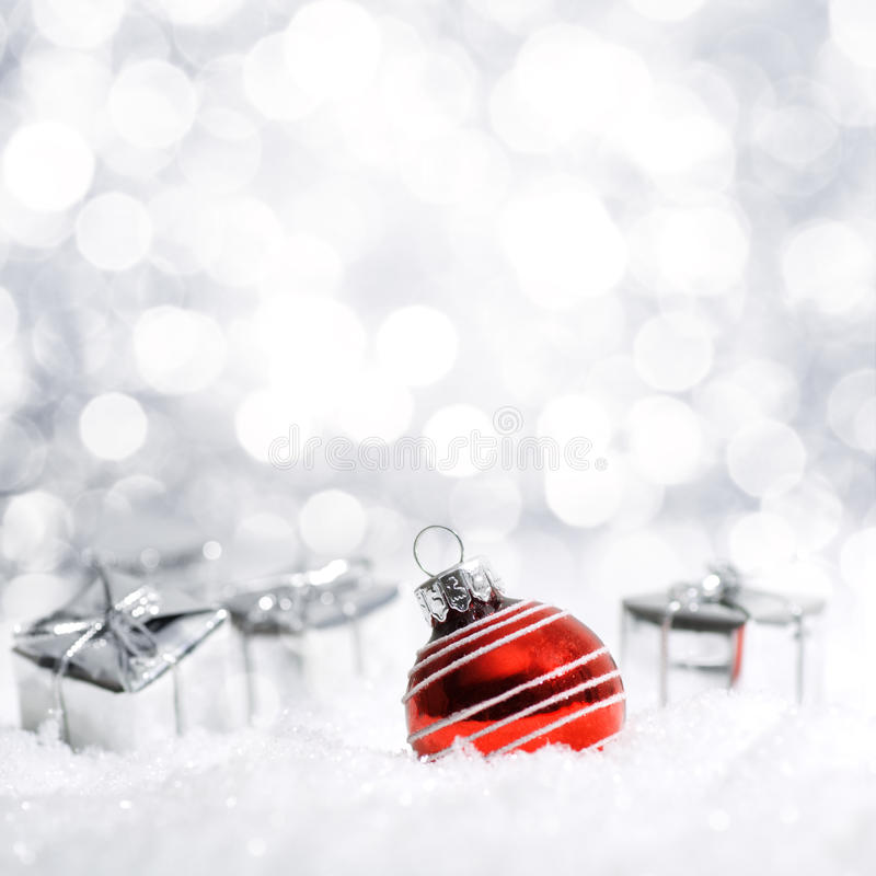 Beautiful Christmas decoration in snow royalty free stock photography