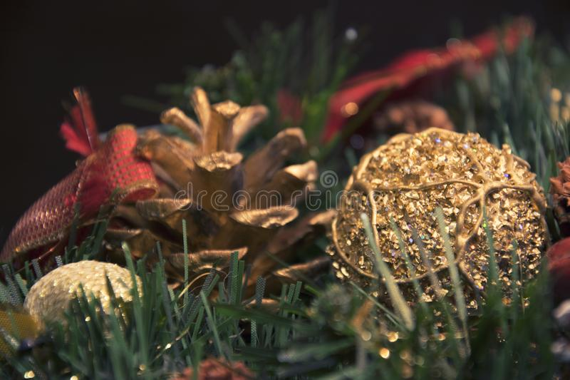 Beautiful Christmas decorations: a cone and branches of a Christmas tree royalty free stock photos