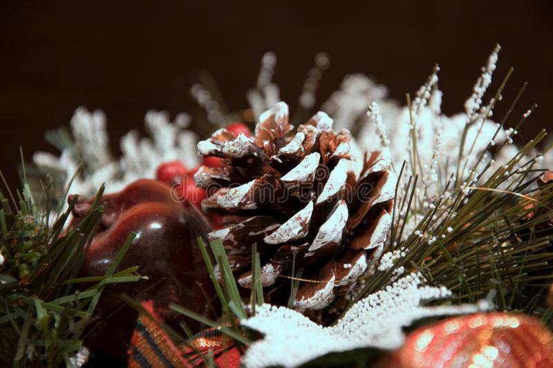 Beautiful Christmas decorations: a cone and branches of a Christmas tree under snow royalty free stock images