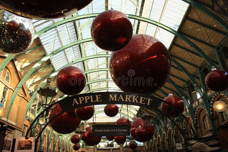 Covent Garden Market at Christmas in London stock photography