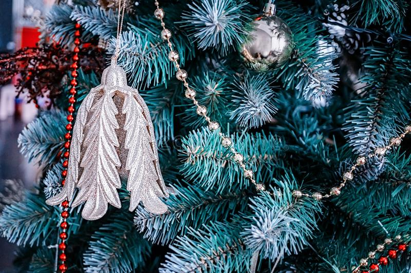Beautiful Christmas decorations hanging on a Christmas tree. Home decoration for Christmas.  royalty free stock images