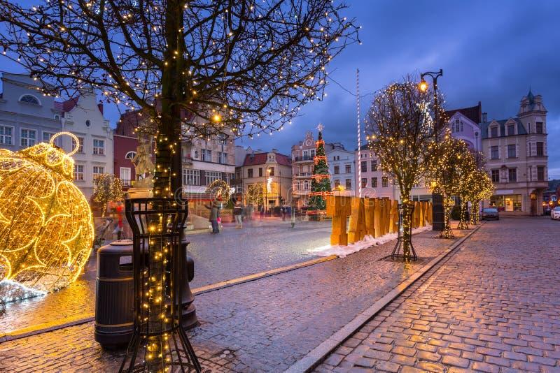 Beautiful christmas decorations on the market squere of Grudziadz, Poland stock images