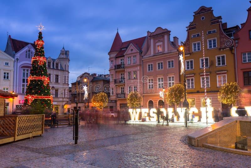 Beautiful christmas decorations on the market squere of Grudziadz, Poland stock photography