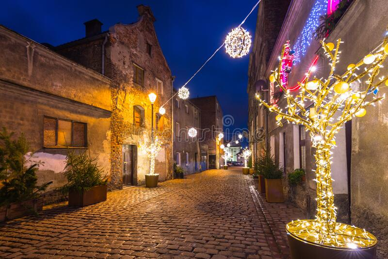 Beautiful christmas decorations on the street of Grudziadz, Poland stock photo