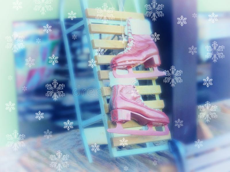 Beautiful Christmas decorative greeting card background. Winter ice skates. New Year stock photos