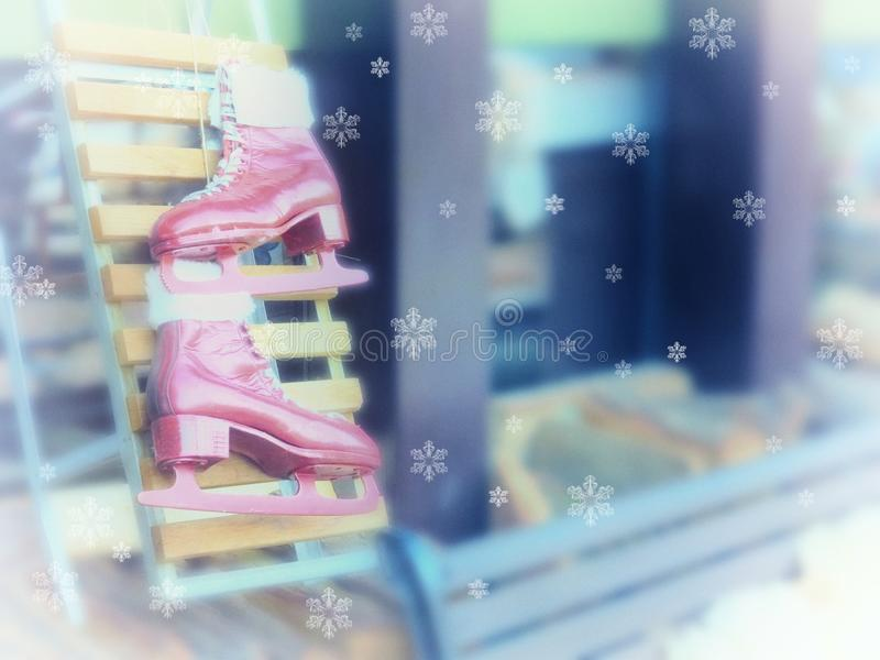 Beautiful Christmas decorative greeting card background. Winter ice skates. New Year royalty free stock photos