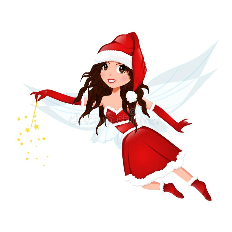 Beautiful Christmas Fairy. Beautiful fairy in red dress and santa's hat with magic wand isolated on white background. vector illustration vector illustration