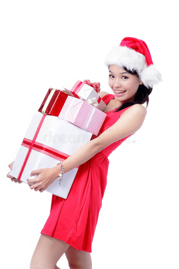 Download Beautiful Christmas Girl Happy Holding Gift Stock Image - Image: 22519537