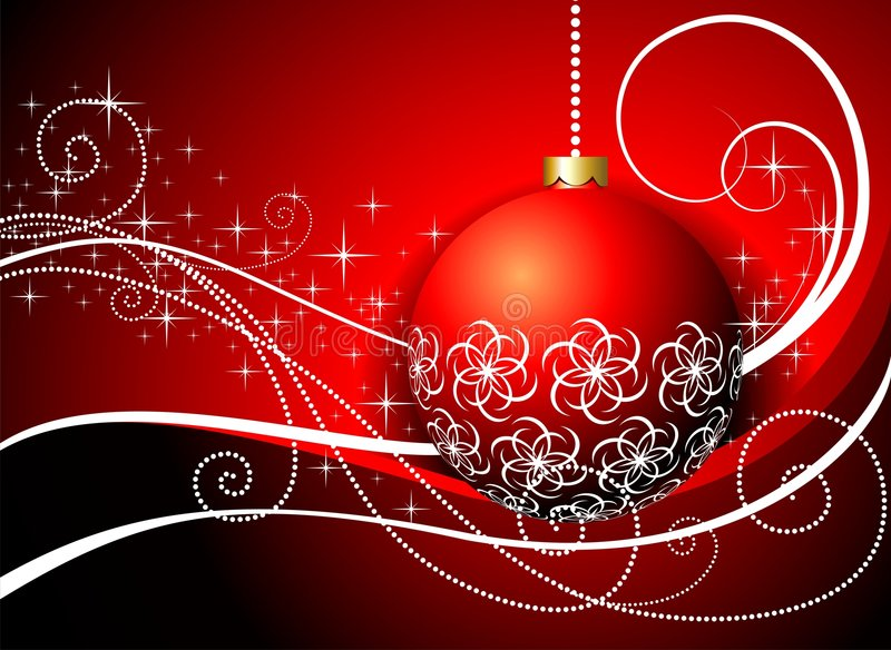 Beautiful christmas illustration. Christmas card with red glass ball and ornament motive royalty free illustration