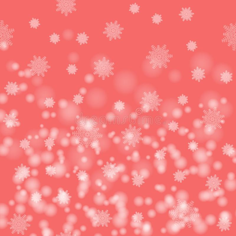 Beautiful Christmas image . White snow flakes on a pink background. abstract Pattern . royalty free illustration