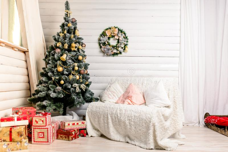 Beautiful Christmas interior design. Concept of Christmas, winter and New Year stock photography