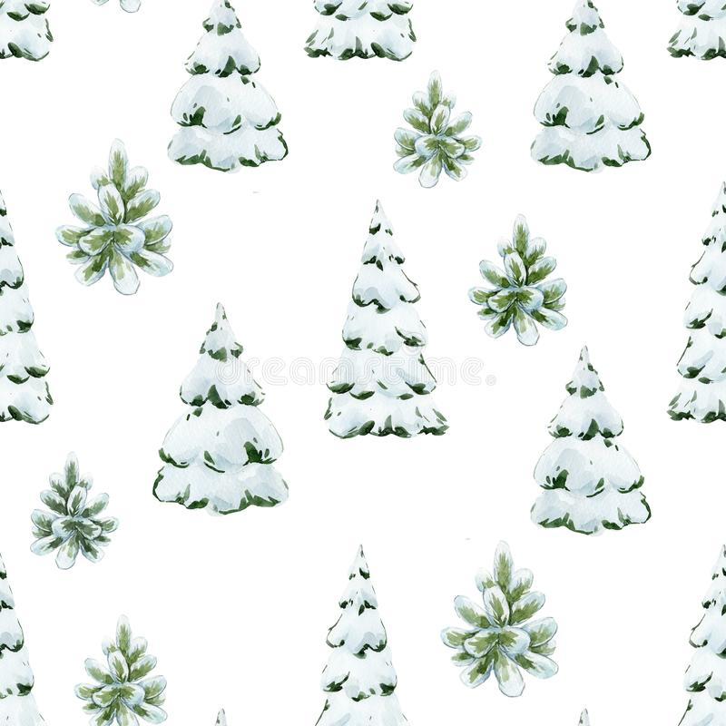 Watercolor fir tree christmas pattern. Beautiful christmas seamless pattern with watercolor fir trees vector illustration