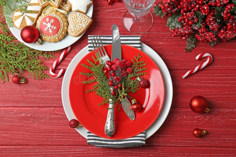 Beautiful Christmas table setting stock photos