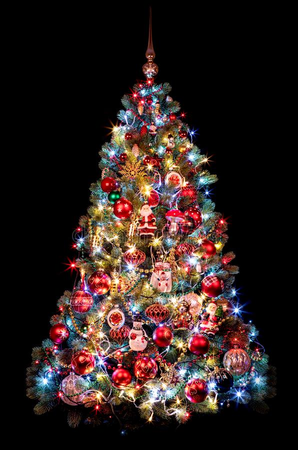 Beautiful Christmas tree on a black background. new year concept.  royalty free stock photography