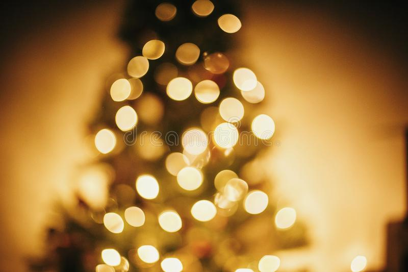 beautiful christmas tree golden lights in festive room. christmas abstract background, blur defocused bokeh of yellow glowing de stock photos