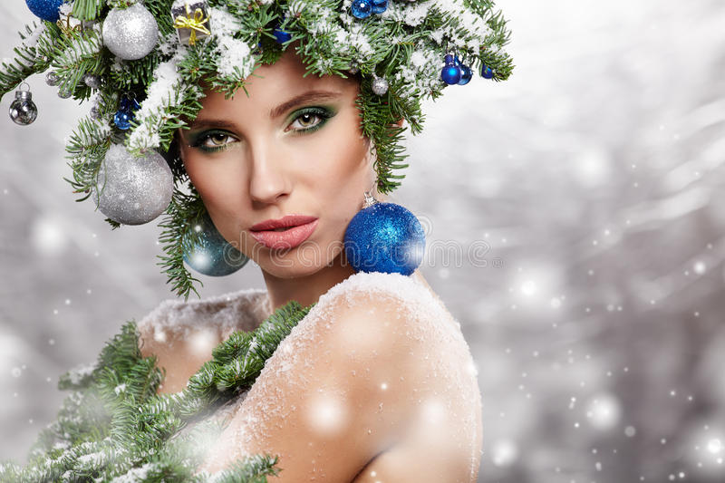 Beautiful Christmas Tree Holiday Hairstyle and Make royalty free stock images