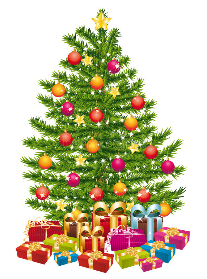Beautiful christmas tree with a lot of gifts. stock illustration