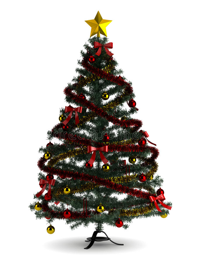 Download Beautiful Christmas Tree  On White Stock Illustration - Image: 33854295