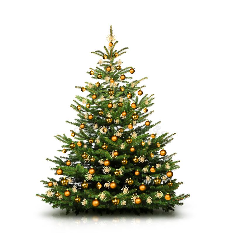 Free Beautiful Christmas Tree With Christmas Baubles Isolated Royalty Free Stock Images - 162823859