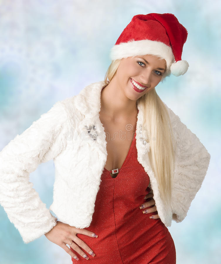 Beautiful christmas woman royalty free stock image