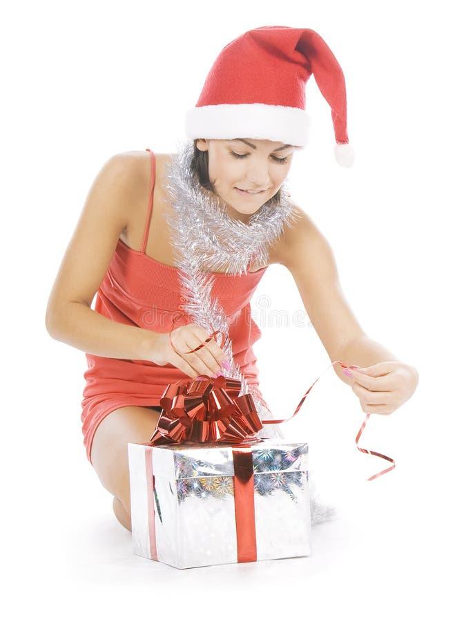 Beautiful christmas woman in santa hat royalty free stock photo