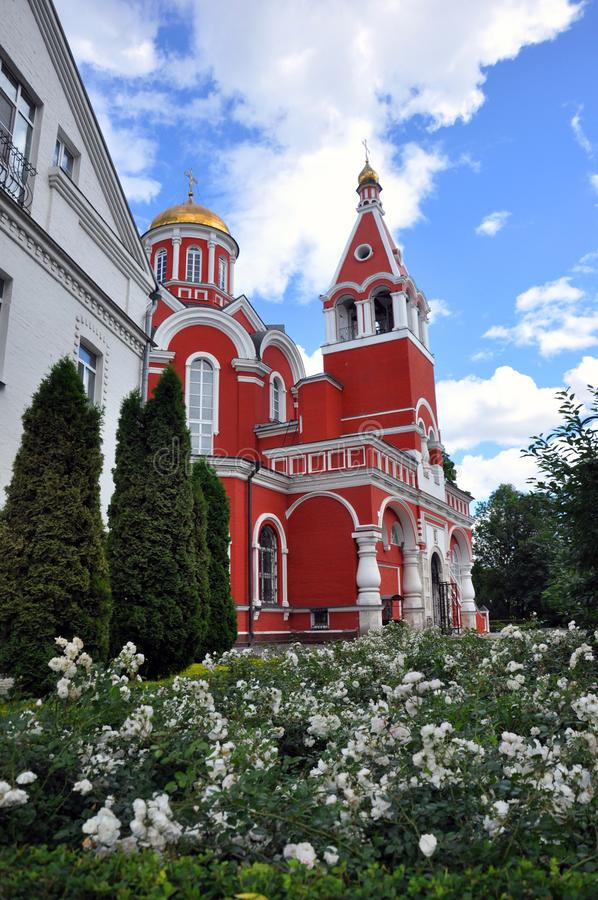Beautiful Church of the Annunciation of the Most Holy Theotokos in Petrovsky Park in Moscow stock photography