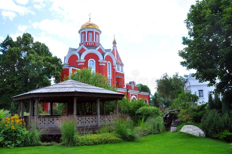 Beautiful Church of the Annunciation of the Most Holy Theotokos in Petrovsky Park in Moscow. Russia royalty free stock images