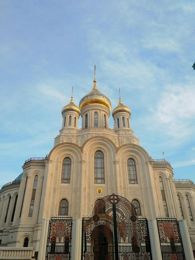 Beautiful church with golden domes in Moscow royalty free stock image