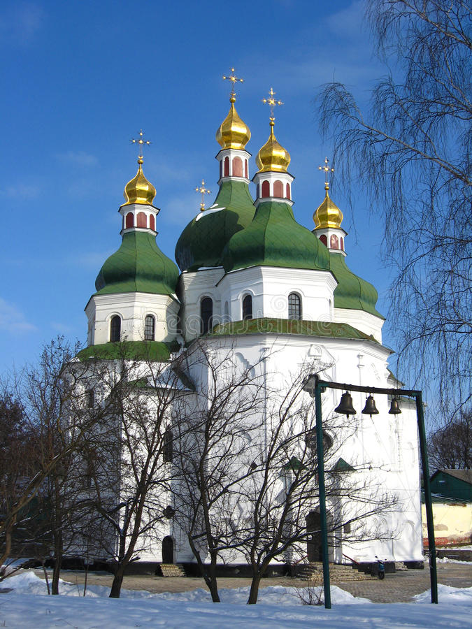 Beautiful church in Priluky in Ukraine. Beautiful church on a background of the blue sky in Priluky town stock photography