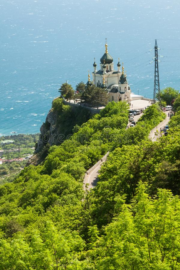 Beautiful Church Of The Resurrection on the hill in front of the sea. Beautiful Church Of The Resurrection on the hill in front of the sea royalty free stock photo