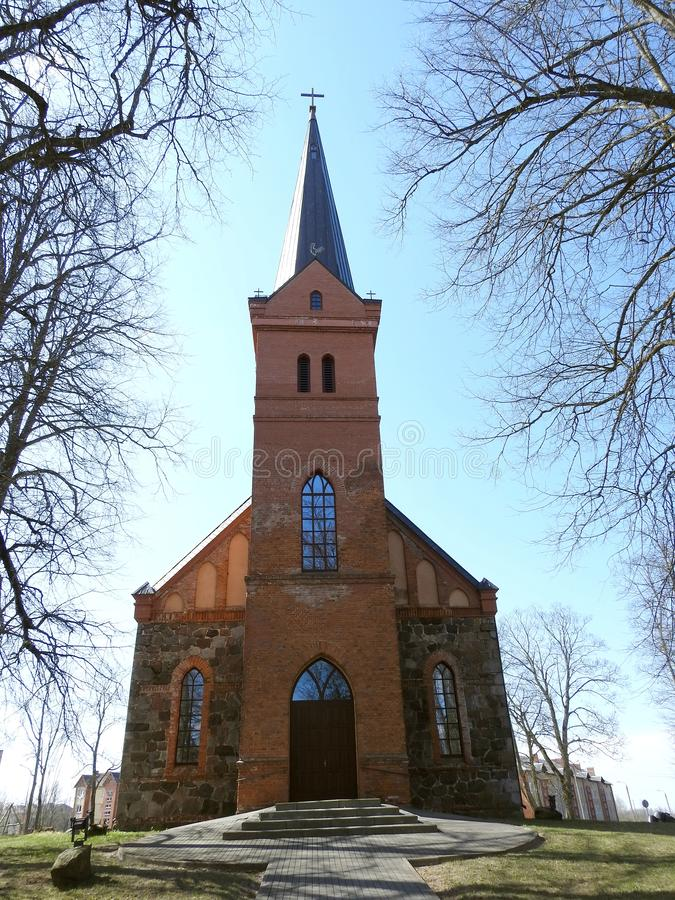 Beautiful church in Ropazu town , Latvia stock image
