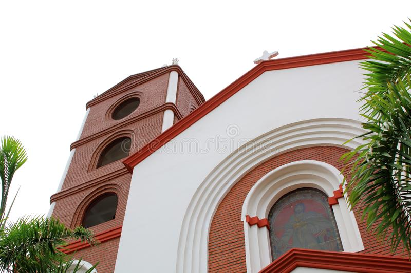 Beautiful church in Santa Cruz de la Sierra city center, Bolivia. With blooming flowers stock photos