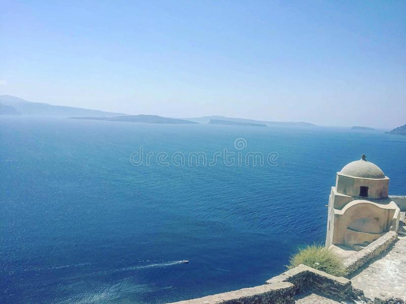 The beautiful church settlement in Greece royalty free stock photo