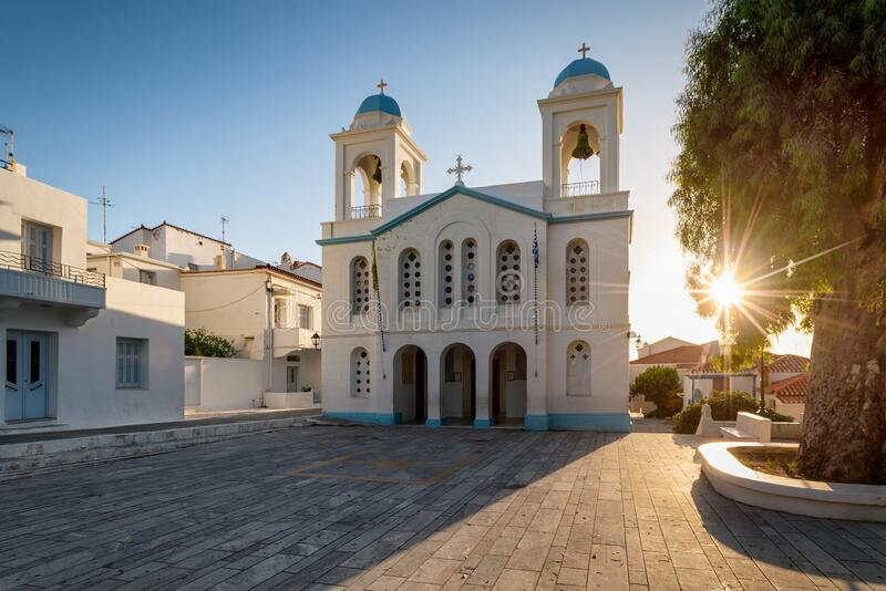 The church of St. George in Chora town on Andros island, Cyclades, Greece stock photography