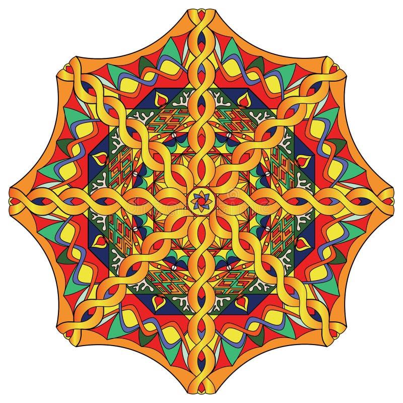 Beautiful circle mandala. Tibetan mandala. Vector illustration. Hand drawn stock illustration