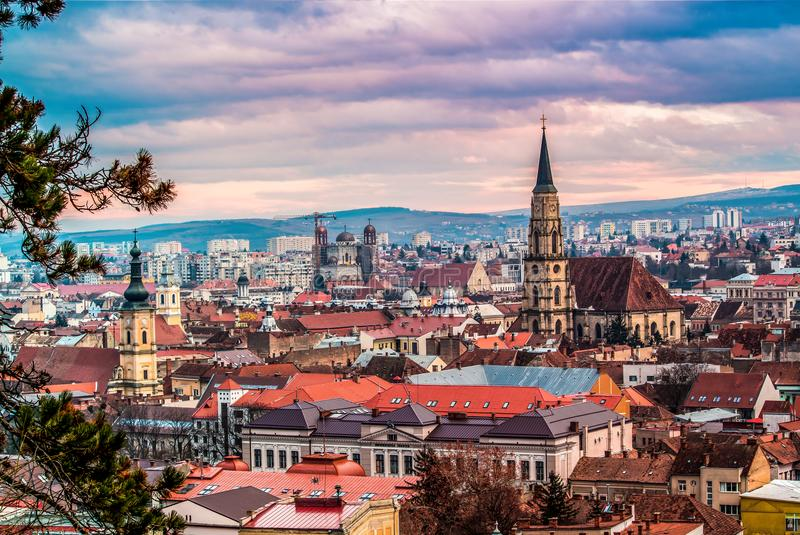 Beautiful city of Cluj Romania. During spring time city center square and catholic catedral stock photo