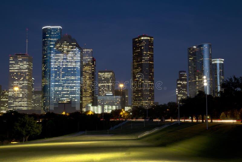 Beautiful city Houston at night stock image